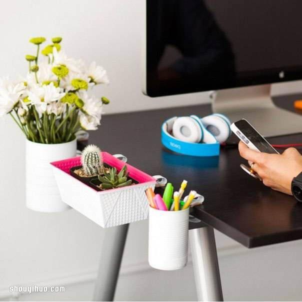 10 Helpful Home Office Storage And Organizing Ideas: 铁罐铁盒废物利用DIY桌边花盆/笔筒/收纳架_手艺活网