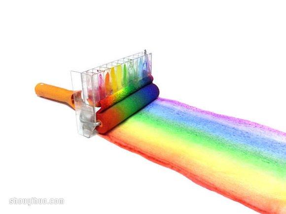 自制彩虹油漆滚筒刷 DIY彩虹油漆刷的教程