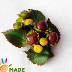小清新植物胸针软陶粘土的制作方法图解