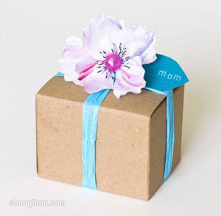 漂亮的皺紋紙手工花包裝盒裝飾DIY製作圖解