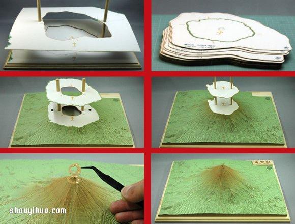 依照等高线层层堆叠 手工富士山纸模型