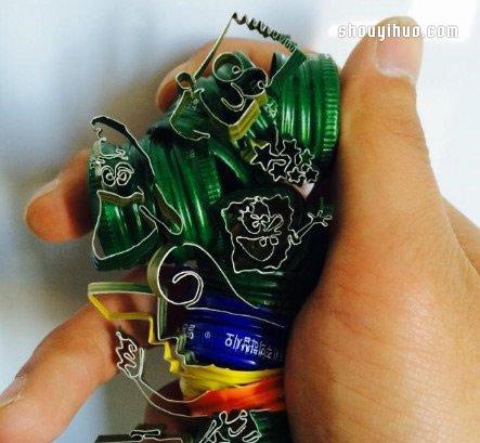 铁铝瓶盖废物利用diy制作告白小手工艺品