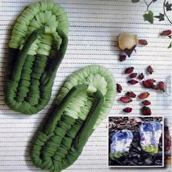 利用布条手工编织人字拖鞋 DIY步骤详解
