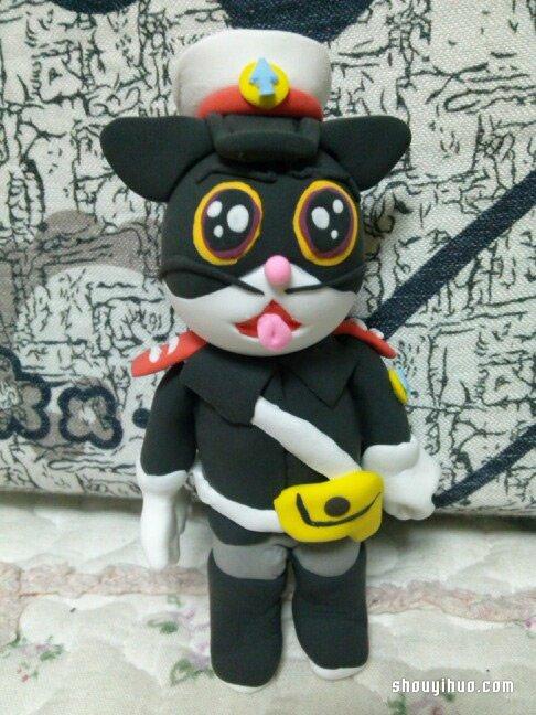 手工彩泥制作黑猫警长