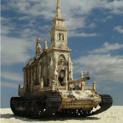 震撼雕塑作品——坦克上的教堂