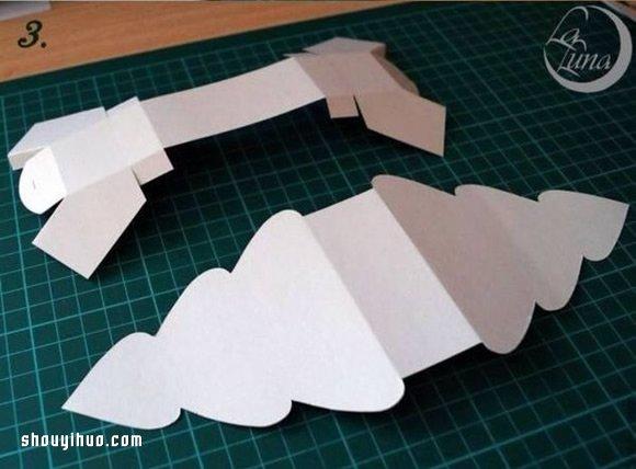 摺紙聖誕樹包裝盒的折法帶有展開圖
