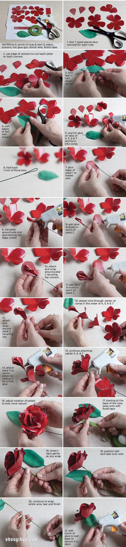 剪紙紅玫瑰的製作方法 帶詳細圖解步驟