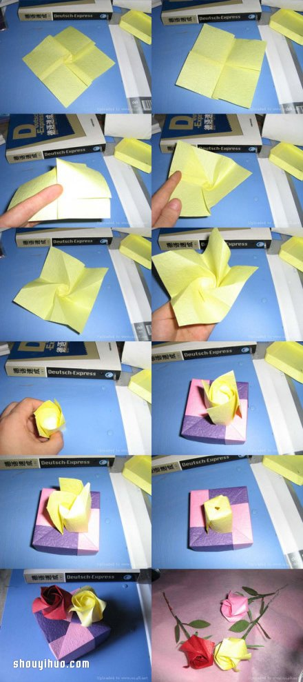 紙折玫瑰花圖解 用紙張折出玫瑰花的方法步驟