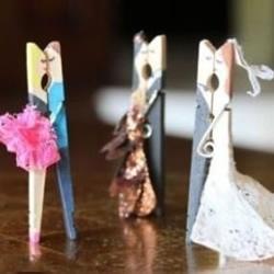 木夹子制作翩翩起舞的新郎新娘小人玩具