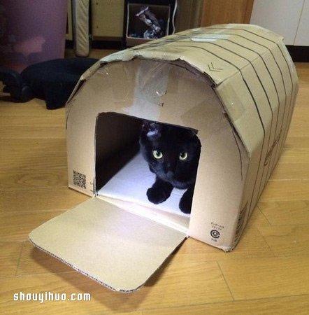 不要的纸箱废物利用 diy制作可爱猫窝的方法
