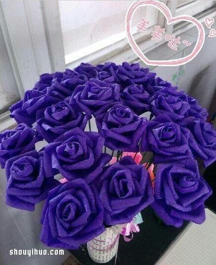 皺紋紙玫瑰花的折法 玫瑰花用皺紋紙折圖解