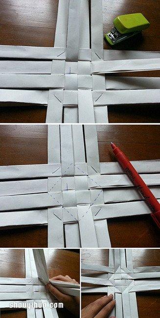 紙條編收納筒/筆筒的方法詳細步驟圖