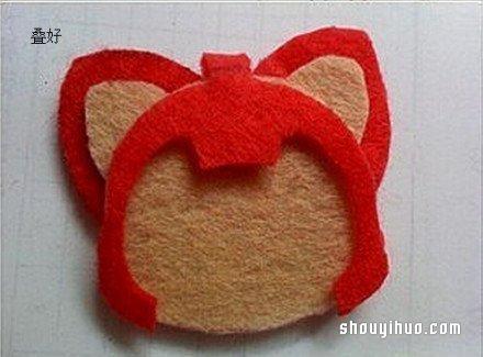 不织布制作阿狸的方法 阿狸布艺手工制作图解