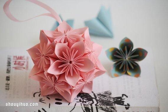 紙櫻花球的折法圖解 摺紙櫻花球的方法教學