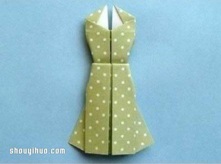 折纸衣服步骤图 手工折连衣裙的折法图解教程图片