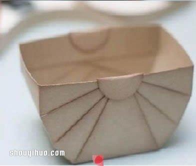 紙盒廢物利用 摺紙製作帶拉手的收納盒圖解