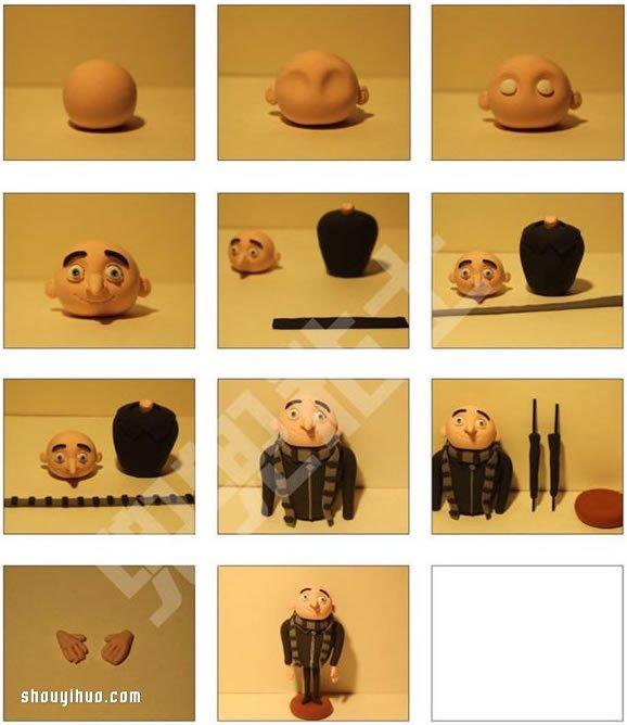 软陶粘土diy制作格鲁人偶的方法图解教程