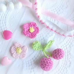 草莓、樱桃小装饰钩针织法针法图解教程