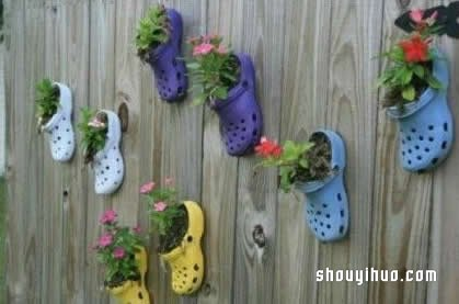 旧鞋子废物利用变花盆
