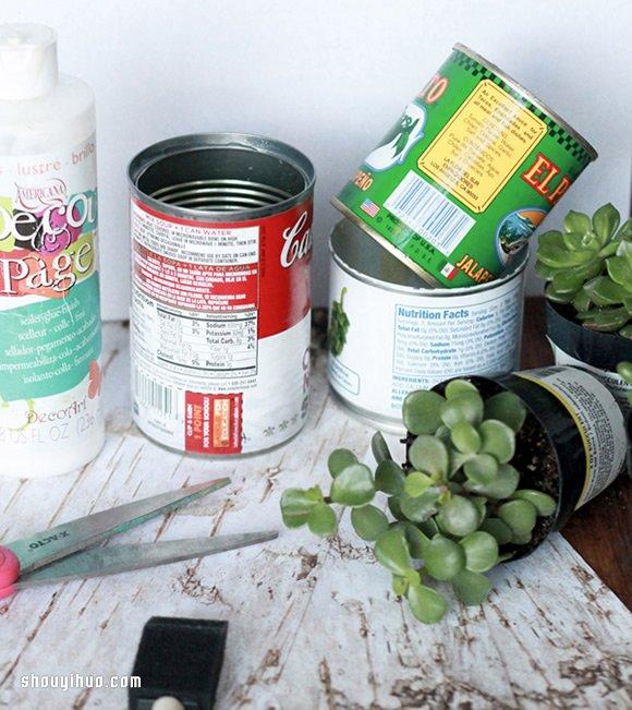 铁罐废物利用 手工制作原木味道花盆的方法教程