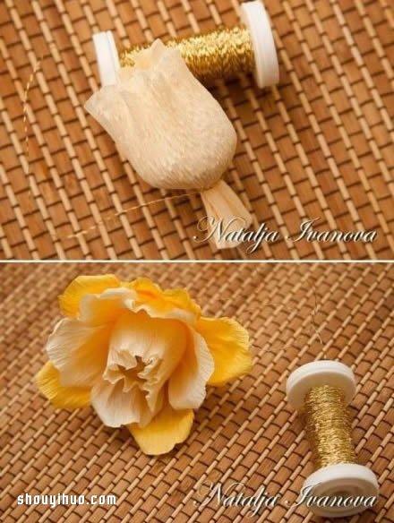 皺紋紙花的做法圖解 手工皺紋紙花的折法教學