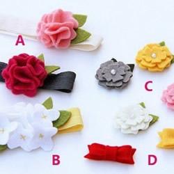 布艺花朵发带发卡制作 韩式带花发带发卡DIY