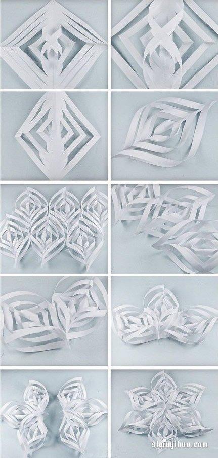 花的剪法图解 手工立体雪花剪纸步骤图