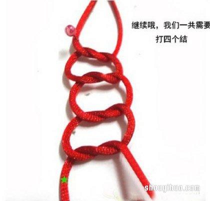 藻井结手链编法图解 红绳手链用藻井结编的步骤