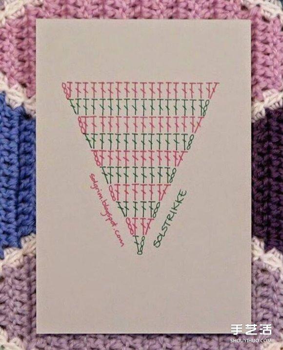 菱形花纹毯子钩针手工编织花样图解教程