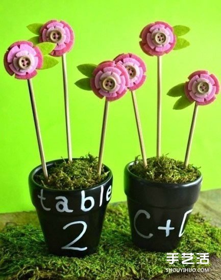 DIY创意手工布艺花插 花朵造型不织布花插制作