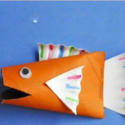 幼儿玩具小鱼手工制作 利用卫生纸卷筒和