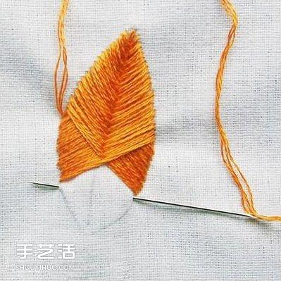 绣树叶的方法步骤图 树叶手工刺绣图解教程
