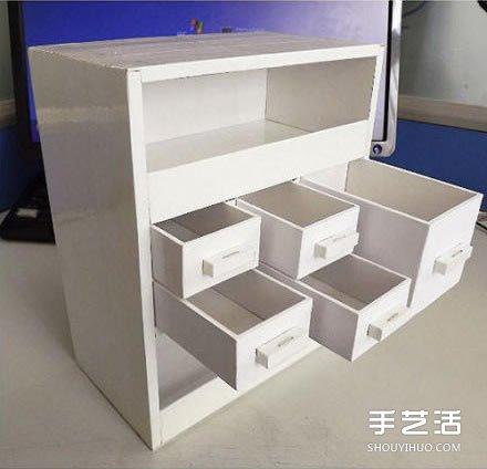 纸箱废物利用手工制作好用的柜子的过程图解图片