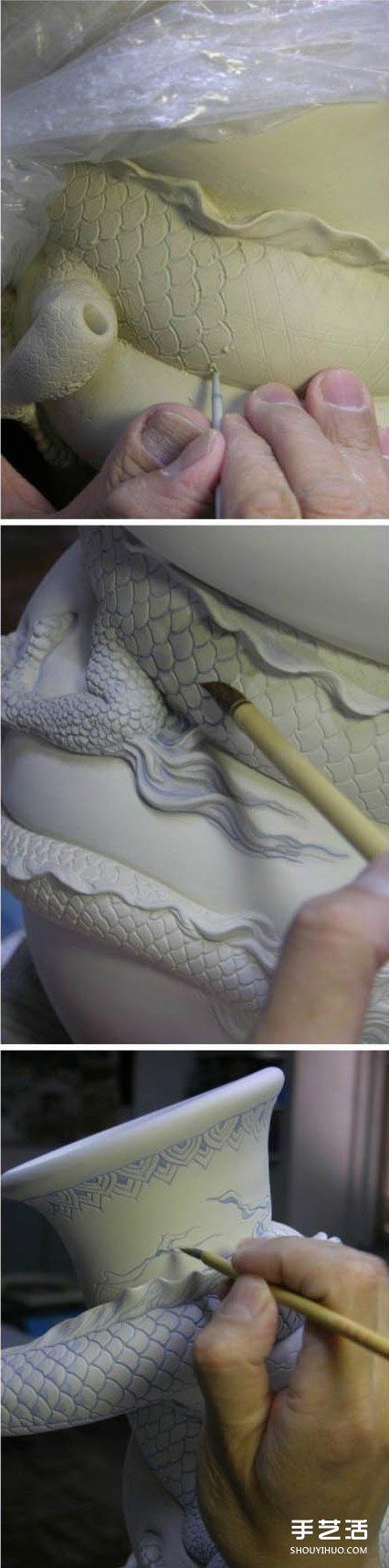 龙形陶瓷瓶DIY制作过程 中国龙盘旋陶瓷瓶制作 -  www.shouyihuo.com