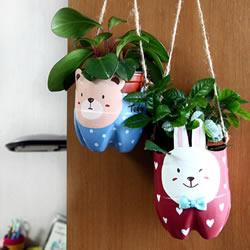 饮料塑料瓶废物利用DIY制作猫咪花盆的方