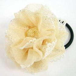 森女风蕾丝头绳DIY 蕾丝布花朵头绳制作教程