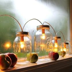 玻璃罐废物利用小制作 圣诞节浪漫情调灯