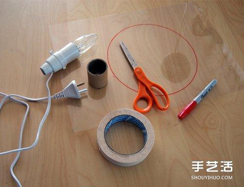海绵纸手工制作美蜂窝灯罩台灯的方法教程