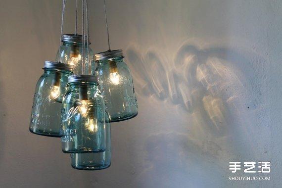 玻璃罐废物利用小制作 圣诞节浪漫情调灯具