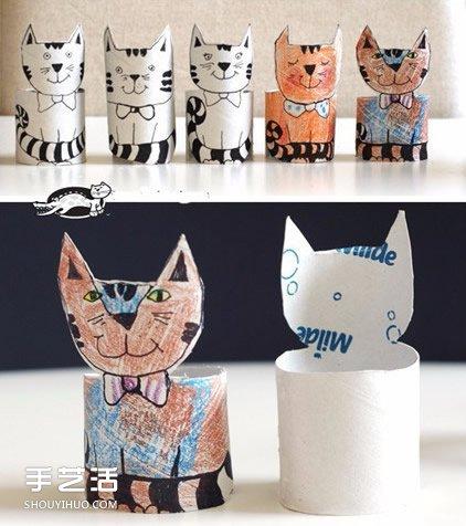 卫生纸卷筒做手工 幼儿可爱立体猫咪制作教程