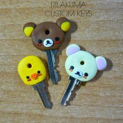 软陶小熊钥匙手柄DIY 卡通小熊钥匙粘土制作