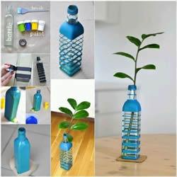 废弃玻璃瓶手工制作简约风花瓶的方法