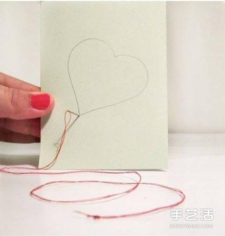 爱心卡片的制作方法 手工刺绣爱心卡片diy制作