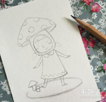 扮演蘑菇的可爱小女孩的画法 教你如何着色