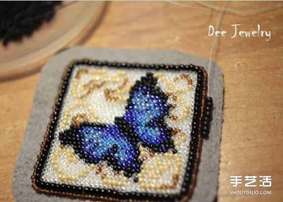 十字绣珠绣蝴蝶兰小挂件 珠绣蝴蝶制作教程 -  www.shouyihuo.com