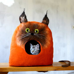 羊毛毡打造猫窝 连屋子都打呵欠了能不