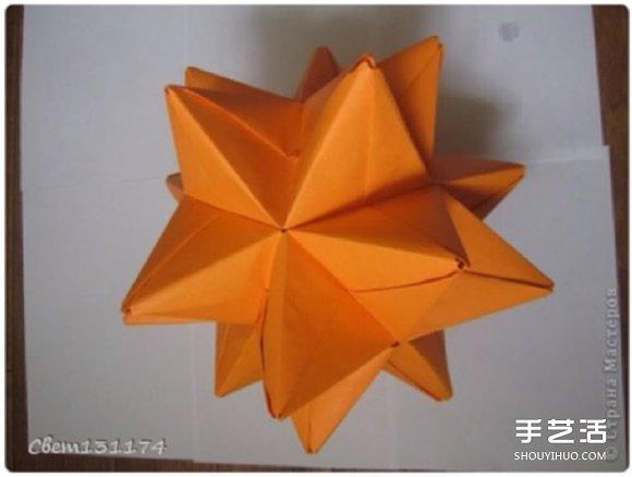 手工立体花球折纸图解 俄罗斯花球的折法步骤