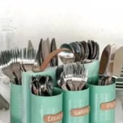 铁罐子废物利用DIY手工制作厨房餐具架子