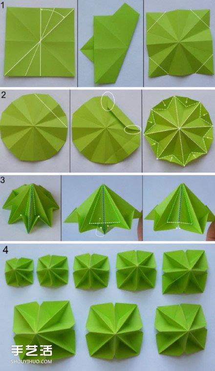 立体构成圆柱折纸图-手工折纸圣诞树教程 简易圣诞树折纸图解图片