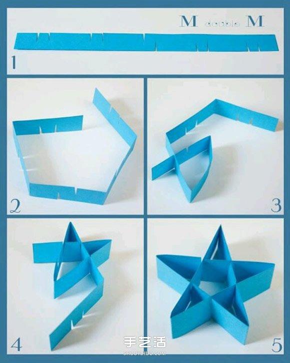按照图2-5的方法折起来,一个立体的五角星星就制作完成了~~~-简单